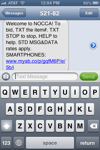 Cell phone confirmation from AuctionsByCellular