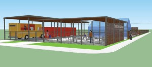 Rendering of Press Street Gardens & The Boxcar food truck by Elizabeth Mossop of Spackman Mossop and Michaels